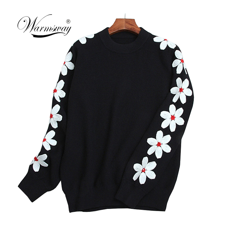Retro Daisy Floral Embroidery Knitwear Tops Loose Long Sleeve Solid Knitted Pullovers Sweater Winter Women