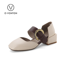Q.VONTON Fashion Cow Genuine Leather Women's Sandals Buckle Strap Ankle Wrap Solid Med Height Square Heel Cover Heel Shoes(China)