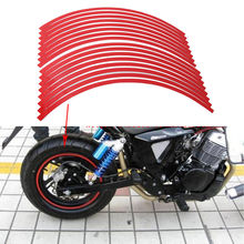 "Universal Wheel Sticker Fit Motorcycle Car DIY 17""-19"" Reflective Wheel Rim Stripe Tape Stickers Decal Pure Red 16Pieces/Set ATV"