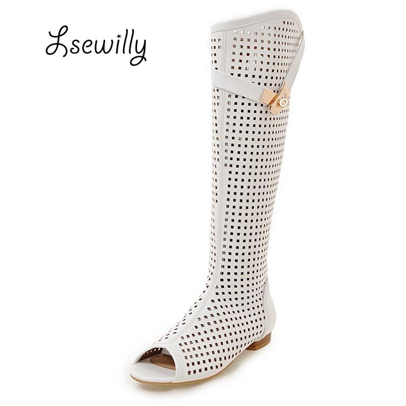 Lsewilly 2017 new cutouts summer boots women open toe knee high boots high quality party dress shoes ladies sandals 34-47 SS947<br>