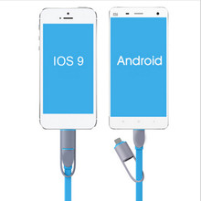 Newest Colorful  Mobile Phone Cables 2 in 1 Sync Data Charging USB Cables for iPhone 5 5s 6 plus Samsung Xlaomi HTC Sony XEDAIN