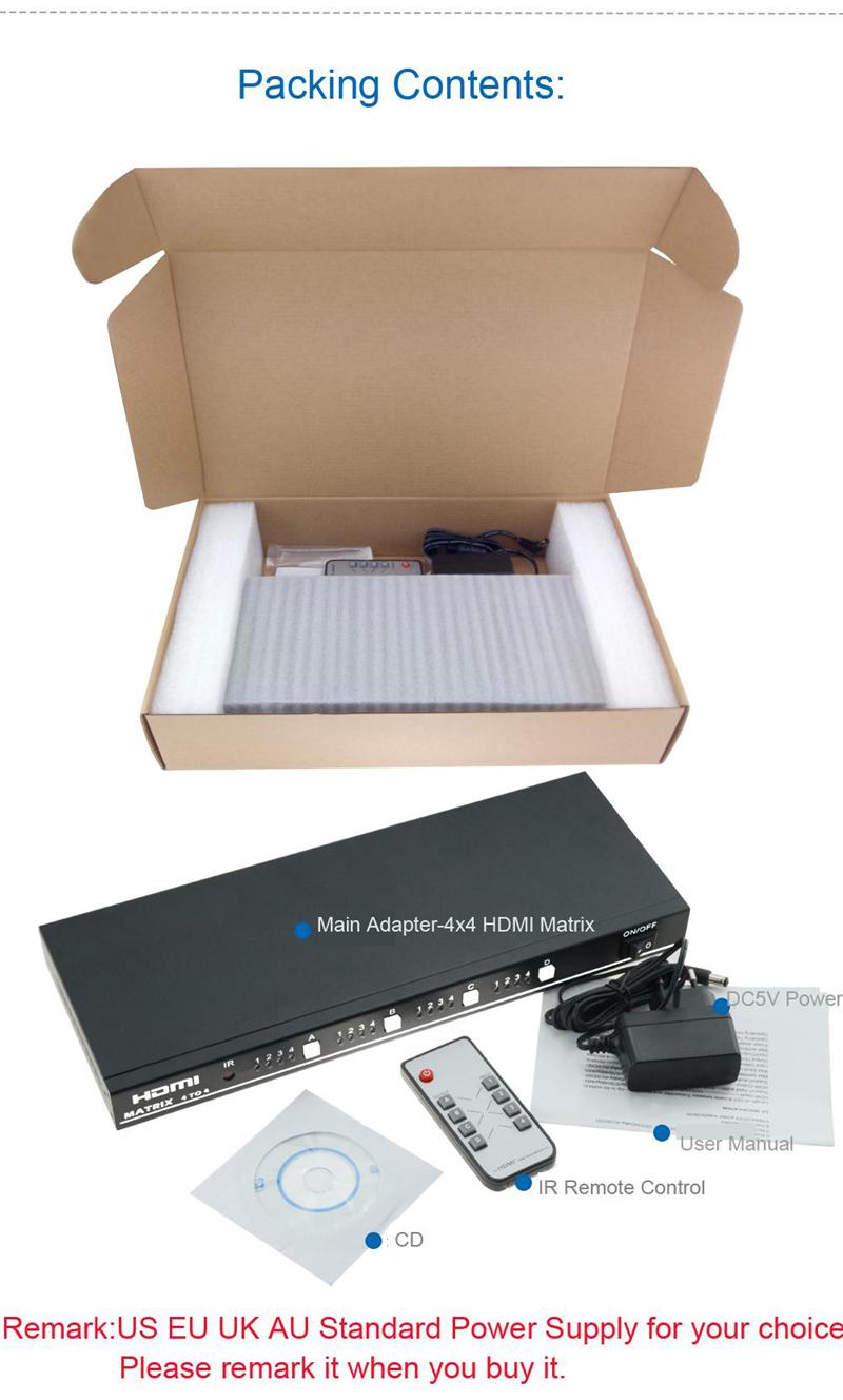 EMK 4x4 HDMI True Matrix 4 input 4 output HDMI Switch Splitter 1.3b support 1920x1080 60Hz with RS232 Remote Control Switch (4)