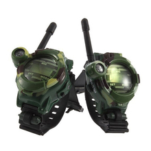2Pcs Multi-functional Two Way Radio Walkie Talkie Toys Children Military Style Wrist Watch Toy with Compass Magnifier Reflector