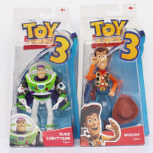 2Pcs/Set Toy Story 3 Buzz Lightyear + Woody Sheriff  PVC Action Figure Toy Model Dolls For Children Great Gifts 18cm