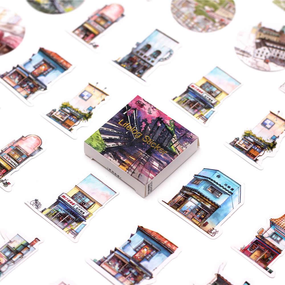45 Pcs/Pack Kawaii Cute Streetscape Pattern Decoracion Journal Stickers Scrapbooking Stationery Student Office Supplies