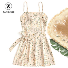 ZAN.STYLE Boho Floral Prints Bowknot Tied Cut Out Mini Dress Women Halter Backless Belted Beach Sundress Chiffon Summer Dresses(China)