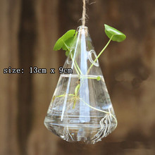 wholesale 10pcs/lot tear shape hanging glass vase for flowers wedding party home decorations with free shipping