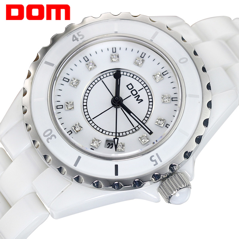 DOM womens watches luxury brand wrist watches for women waterproof style quartz ceramic nurse girls Ladies Watch clock New T598<br>