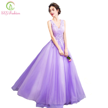 SSYFashion New Dream Fairies Lavender Purple Evening Dress The Bride Princess Banquet Sweet Lace Appliques Long Prom Party Gowns