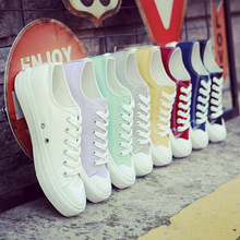 2017 New white canvas shoes female spring and summer white shoes women casual shoes students(China)