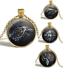 Vintage Game Of Thrones The Song Of Fire And Ice Wolf Pendant Glass Cabochon Necklace For Women&Men Christmas Gifts(China)