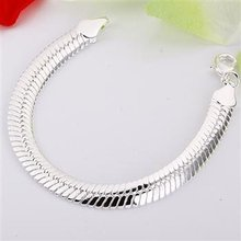Free shipping,925 silver jewelry Bracelet ,10M flat snake bracelets, fashion jewelry Bracelet wholesale price! S070