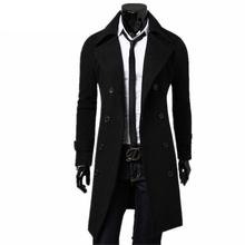 New Trench Coat Men 2017 Jacket Mens Overcoat Casual Slim Fit Windbreak Solid Long Coat Men Fashion Winter Coats Homme Plus Size(China)