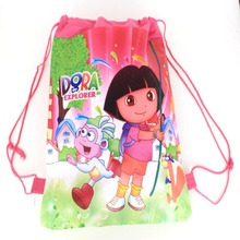 1 pieces / los Dora Kids Cartoon Drawstring Trainers for Girls, Kids Birthday Party Favor, Mochila School Kids Backpack5470