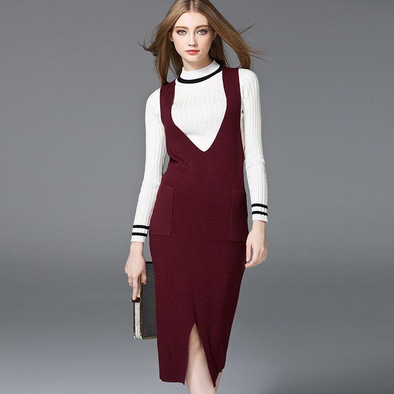 2017 Autumn New Style Straps Knitted Dress Europe and America Fashionable Womens Clothing Deep V Neck Sleeveless Pencil DressÎäåæäà è àêñåññóàðû<br><br>
