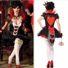 Fantasy Poker Queen of Red Hearts Cosplay Costumes  Halloween Costumes Carnival Party Apparel Sexy Women Magic TuTu Dress