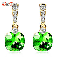 DuoTang Fashion Stud Earrings Trendy Zinc Alloy Geometric Rhinestone Green Blue Crystal Earring Statement Jewelry Women Gift