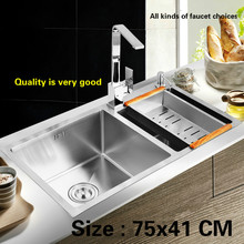 Free shipping Household Kitchen sink durable manual thick stainless steel vogue double groove 75x41 CM(China)