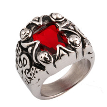 Stainless Steel Vintage Jewelry Bright Red Crystal Engagement Ring Women Men Rings
