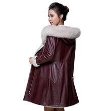 2017 New Brand Fashion High Quality Winter Leather Jacket Women's Long Leather Coat Raccoon Fur Coat Warm Women Parka(China)