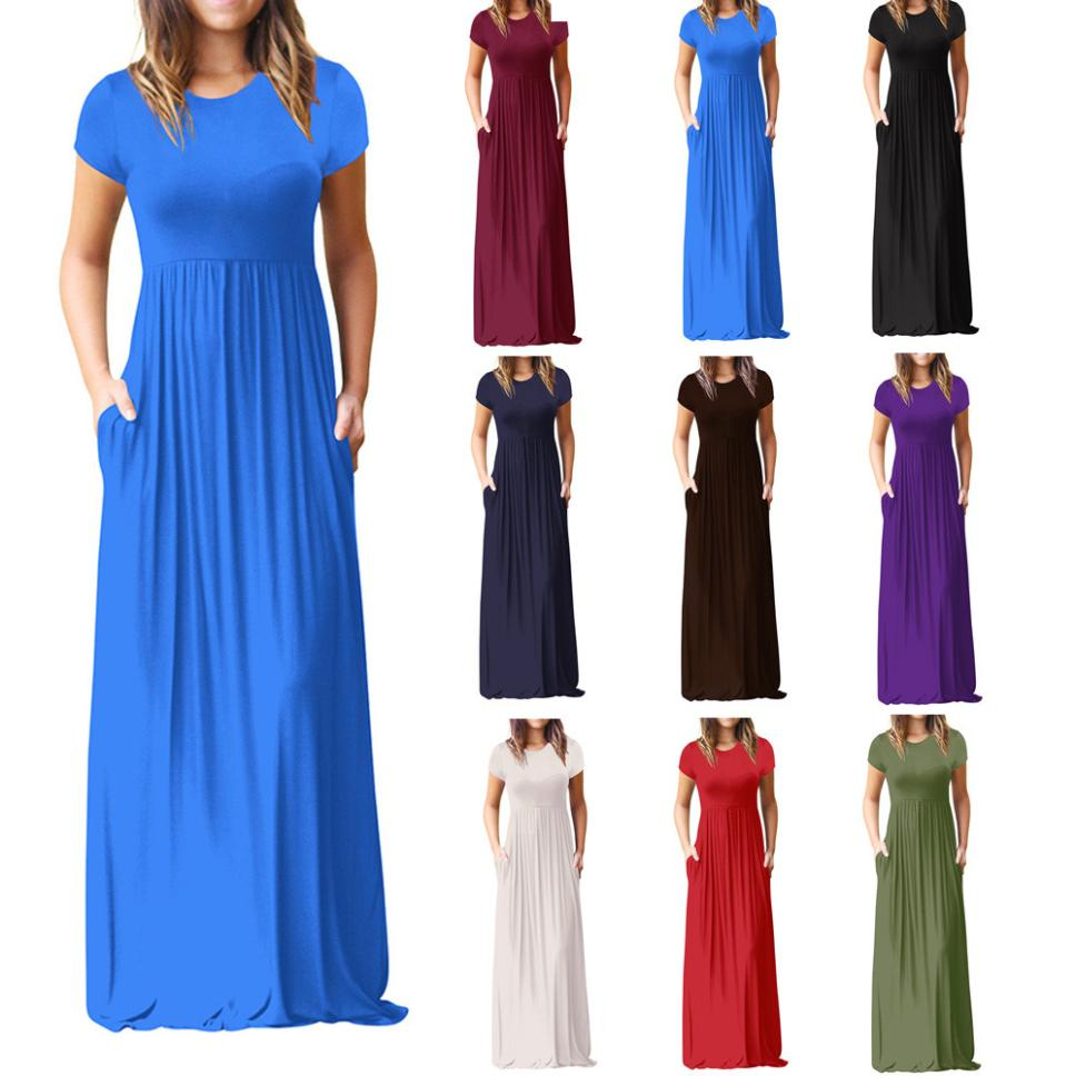 Hot Sale Floor Length Dress Women O Neck Casual Pockets Short Sleeve Loose Party Dress Vestido Longo De Festa 12