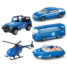 1:64 Metal Police Car Model Toys Mini Alloy Car SUV Helicopter Speedboat Boat Bus Vehicle for Kids Boys Toy(China)