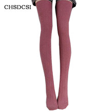 Women Knit Crochet Stockings Winter Over The Knee Long Socks Leg Warmer Braid Cotton Soft Calcetines Mujer Chaussette Twist W041(China)