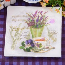 Table tissue napkins paper printed purple Lavender vase handkerchief decoupage wedding serviette party cocktail decor cup mat