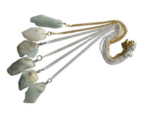 100%Natural Aqua marine Rough Gem Necklace Pendant, 5pcs/lot Natural Gem Necklace with Gold&Silver Chain 18""