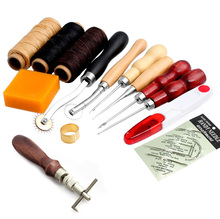 14Pcs/Set Leather Craft Hand Stitching Sewing Tool Thread Awl Waxed Thimble Kit