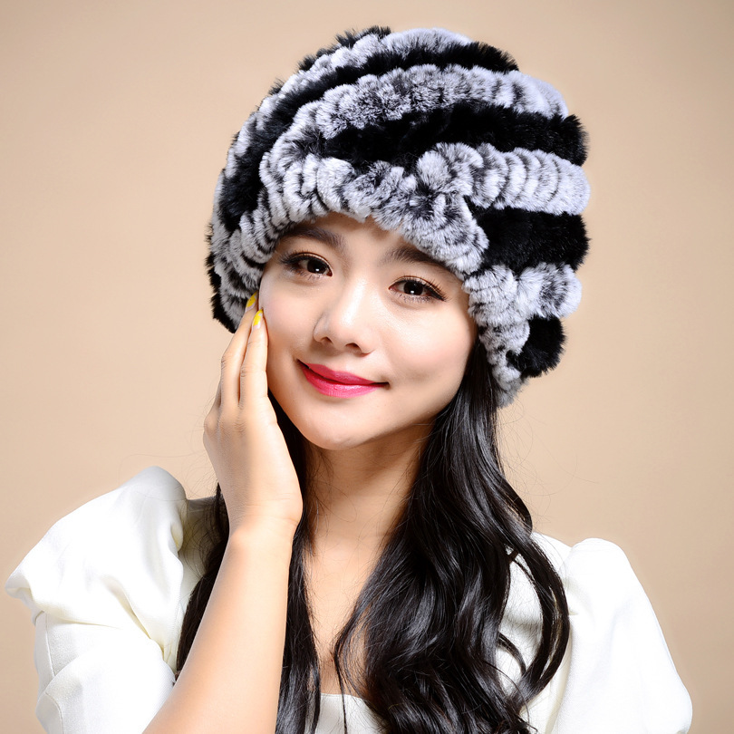 2015 Winter Hats For Women Natural Knitted Rex Rabbit Fur Spiral Stripe Design Warm Thick Female Beanie Cap Casual Ladies Hat   Одежда и ак�е��уары<br><br><br>Aliexpress
