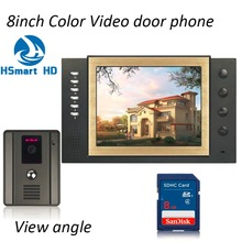 Buy 8 INCH TFT LCD Color Wired Video Door Phone 8GB Card Video Record Doorbell Intercom System IR Night Vision Wide Angle 2.5mm Lens for $99.15 in AliExpress store