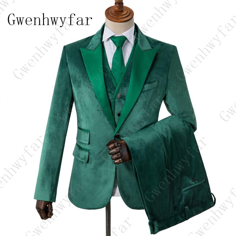 Green Velvet Blazer mens  Peak Lapel with Satin chest pocket slim fit