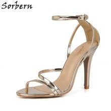 Sorbern Gold Patent Open Toe Sandal For Women High Heels Woman Shoes Luxury  Brand Open Stiletto Custom Colros 10Cm Heels 6bcb22356e6f