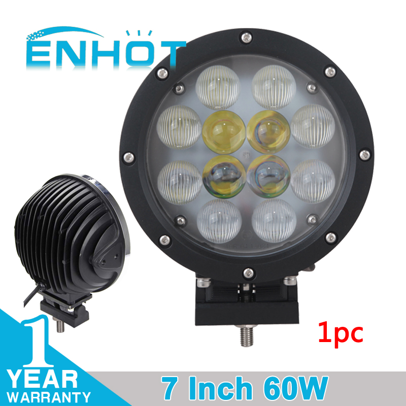 ENHOT 7'' 60W LED Work Light With E Mark Certificate Cree Chip Spot combo LED Driving Head Lamp Round Fog Lamp for Off Road Car(China (Mainland))