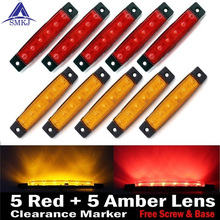 SMKJ 10Pcs 12V 6LED Side Marker Indicators Lights Lamp For Car Truck Trailer Lorry 6 LED Yellow/White/Red Clearence Bus(China)