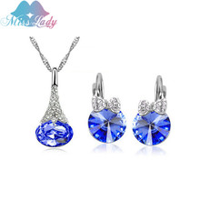 Miss Lady Gold color Rhinestone Crystal Costume Wedding Cat Bridesmaid Jewelry Sets Fashion Jewelry for women MLZ1255
