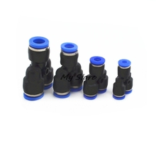 "5Pcs ""Y"" Pneumatic Connector Tee Union Push In Fitting for Air Pipe joint OD 4 6 8 10 12MM"