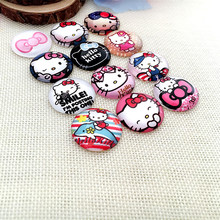 Time Gem Round Shape Mix Cartoon Hello Kitty Photo Glass Cabochons Lot Sizes Diy Pendants Necklace Earring Making  Cb2505