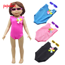 1Pcs New Direct Factory Sale Price 18 inch American Girl Doll Pink Red Black Swimwear With Sunglasses Children Best Gift(China)