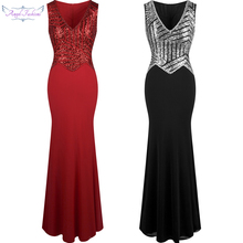 Angel-fashions V Neck Sequin Beaded Mermaid Long Evening Dress Mother of Brides Formal Dresses Red Silver 293