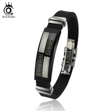 ORSA JEWELS Hot Sale Lead&Nickel Free Stainless Steel Silicone Black Bracelet Fashion Style Great Wall Design Men Bracelet OTB12(China)