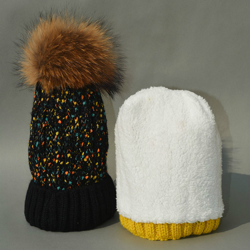 2017 Fashion Children Winter Raccoon Fur Hats 100% Real 15cm 18cm Fur pompom Beanies Cap Natural Fur Hat For Kids ChildrenОдежда и ак�е��уары<br><br><br>Aliexpress