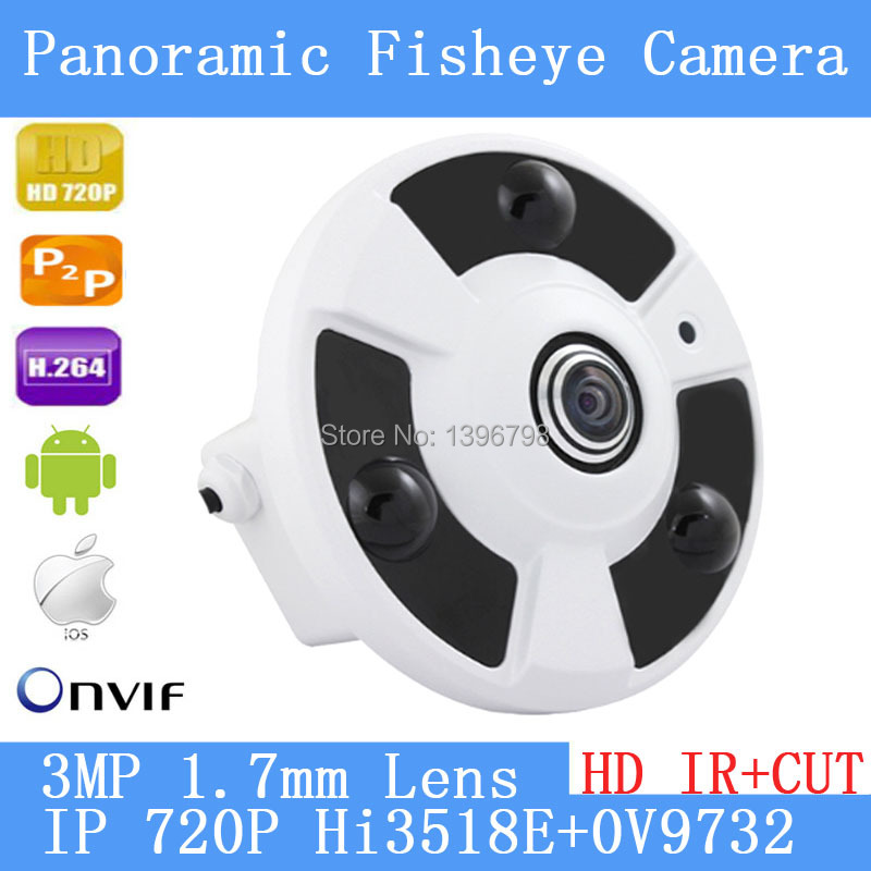 360 Panorama fisheye IP camera 720P P2Pcamera wide angle fisheye 3MP 1.7 mm lens CCTV camera indoor ONVIF 3 LED array infrared<br>