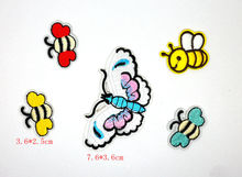 MIX5PCS red butterfly bee Embroidered Iron On Patch Sewing on patch Applique Badge Clothes Stickers Apparel Craft Accessories