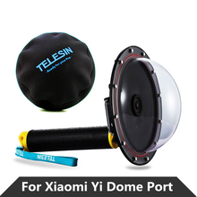 Diving Dome Port Cover Case + protection Mask hat +Floating Bobber Handle Monopod Stick +Shutter Trigger for xiaomi yi 4k camera