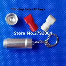 500pcs/lot EAS anti-theft stop lock for retail display security hook stem&peg stop lock+10pcs magnetic detacher keys