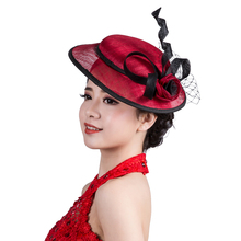 New Lady Headdress Sinamay Wedding Fascinator Hat Flower Feather Loops Hair Accessories Horse Racing Girls Hairbands
