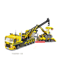 Hot city Engineering team 8in1 crane trailer truck building block Engineer worker figures excavator Bulldozer mixing vehicle toy(China)
