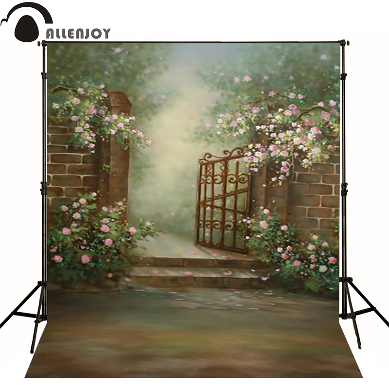 Allenjoy vinyl backdrops for photography Retro flower garden gates photo background baby kid photocall cute 3x5ft<br><br>Aliexpress